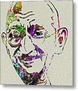 Gandhi Watercolor Metal Print