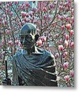 Union Square Gandhi With Magnolias Metal Print