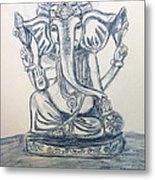 Ganesha In Blue Metal Print