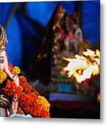 Ganesha Worship Metal Print
