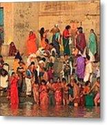 Ganges Pilgrims Metal Print
