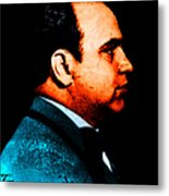 Gangman Style - Al Capone C28169 - Black - Painterly Metal Print by Wingsdomain Art and Photography