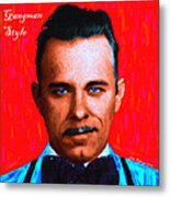 Gangman Style - John Dillinger 13225 - Red - Painterly - With Text Metal Print by Wingsdomain Art and Photography