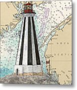 Gannet Rock Lighthouse New Brunswick Canada Nautical Chart Art Metal Print