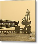 Gantry Crane In Port Metal Print