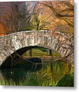 Gapstow Bridge In Central Park Metal Print