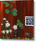 Garden At The Red Barn Metal Print