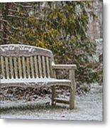 Garden Bench During Winter Snowfall At Sayen Gardens Metal Print