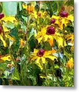 Garden Flowers In Yellow Metal Print