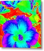 Garden Flowers / Solarized Effect Metal Print
