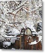 Garden Gate In Winter Metal Print
