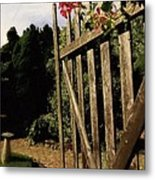 Garden Gate Welcome Metal Print