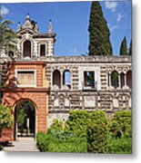 Garden In Alcazar Palace Of Seville Metal Print