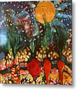 Garden In Moonlight Metal Print