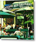 Garden Party Celebrations Under The Cool Green Umbrellas Of Restaurant Chase Cafe Art Scene Metal Print