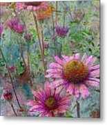 Garden Pink And Abstract Painting Metal Print