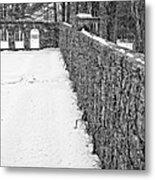 Garden Wall The Mount In Winter Metal Print