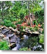 Garden Waterfall And Pond Metal Print