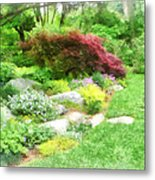 Garden With Japanese Maple Metal Print
