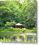 Garden With Pond Metal Print