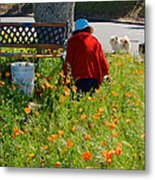 Gardening Distractions In Park Sierra-california Metal Print