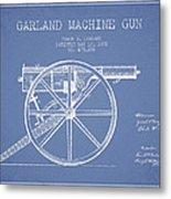 Garland Machine Gun Patent Drawing From 1892 - Light Blue Metal Print