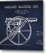 Garland Machine Gun Patent Drawing From 1892 - Navy Blue Metal Print