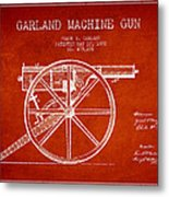 Garland Machine Gun Patent Drawing From 1892 - Red Metal Print