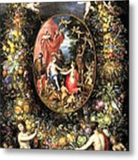 Garland Of Fruit And Flowers Metal Print