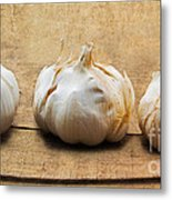 Garlic On Old Barrel Board Metal Print