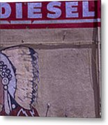 Gas Station Indian Chief Metal Print