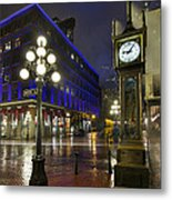 Gastown Steam Clock On A Rainy Night Metal Print