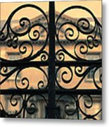 Gate In Front Of Mansion Metal Print