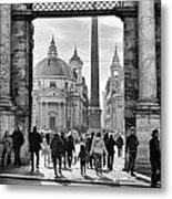 Gate To Piazza Del Popolo In Rome Metal Print