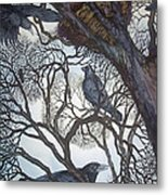 Gathering A Murder Of Crows I Metal Print by Helen Klebesadel