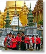 Gathering Near Pagodas Of Grand Palace Of Thailand In Bangkok Metal Print