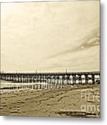 Gaviota Pier In Morning Sepia Tone Metal Print