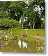 Gazebo Trees Lake And Rock Garden In Singapore Chinese Gardens Metal Print