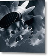 Gears And Cogs Mirrored In Titanium Metal Print