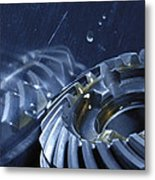Gears Mirrored In Titanium Metal Print by Christian Lagereek