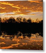 Geese Fly In The Sunset Metal Print