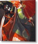 Geisha Girl With Red Umbrella Metal Print