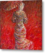 Geisha In Red Metal Print
