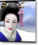 Geisha On Mount Fuji Metal Print