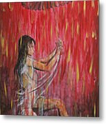 Geisha Rain Warrior Metal Print