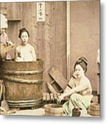 Geishas Bathing Metal Print