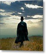 Gentleman In Top Hat Walking In Field Metal Print