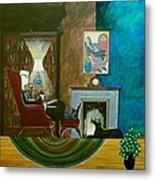Gentleman Sitting In Wingback Chair Enjoying A Brandy Metal Print