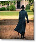 Gentleman Walking Towards A House Metal Print