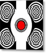 Geometric Abstract Black White Red Art No.400 Metal Print